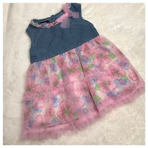 Darlings DDG Little Girls Denim And Floral Ruffle